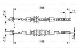Seilzug, Feststellbremse BOSCH (1 987 477 130), OPEL, Vectra A, Vectra A CC, Calibra A