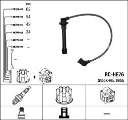 Zündleitungssatz NGK (8655), HONDA, Accord VI, HR-V, CRX III, Civic V Coupe