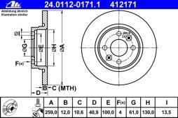 ATE Bremsscheibe  24.0112-0171.1