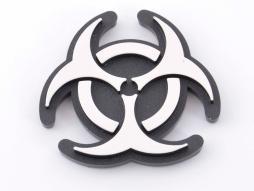 Aufkleber Chrom 3D Car Logo Motiv Radioactiv 52x52 mm chrom