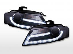 Scheinwerfer Set Xenon Daylight LED Tagfahrlicht Audi A4 B8 8K  07-11 schwarz
