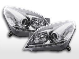 Scheinwerfer Set Daylight LED Tagfahrlicht Opel Astra H  2004-2009 chrom