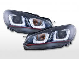 Scheinwerfer Set Daylight LED Tagfahrlicht VW Golf 6  08-12 schwarz GTI-Look
