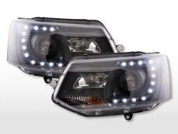 Scheinwerfer Set Daylight LED Tagfahrlicht VW Bus T5  ab 2009 schwarz