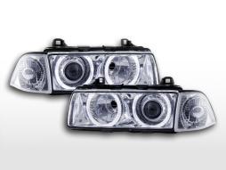 Xenon Scheinwerfer Set Angel Eyes Optik BMW 3er Coupe Typ E36 Baujahr 92-98 chrom