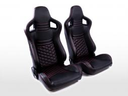 FK Sportsitze Auto Halbschalensitze Set Carbon-Optik schwarz/rot